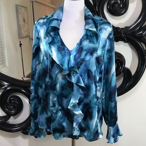 Jones New York size XL pretty turquoise ruffles